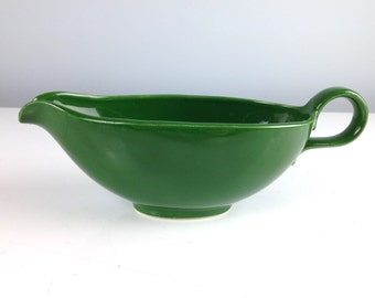 Green Ceramic Gravy Boat, Sauce Dish, looks like Rhythm by Homer Laughlin