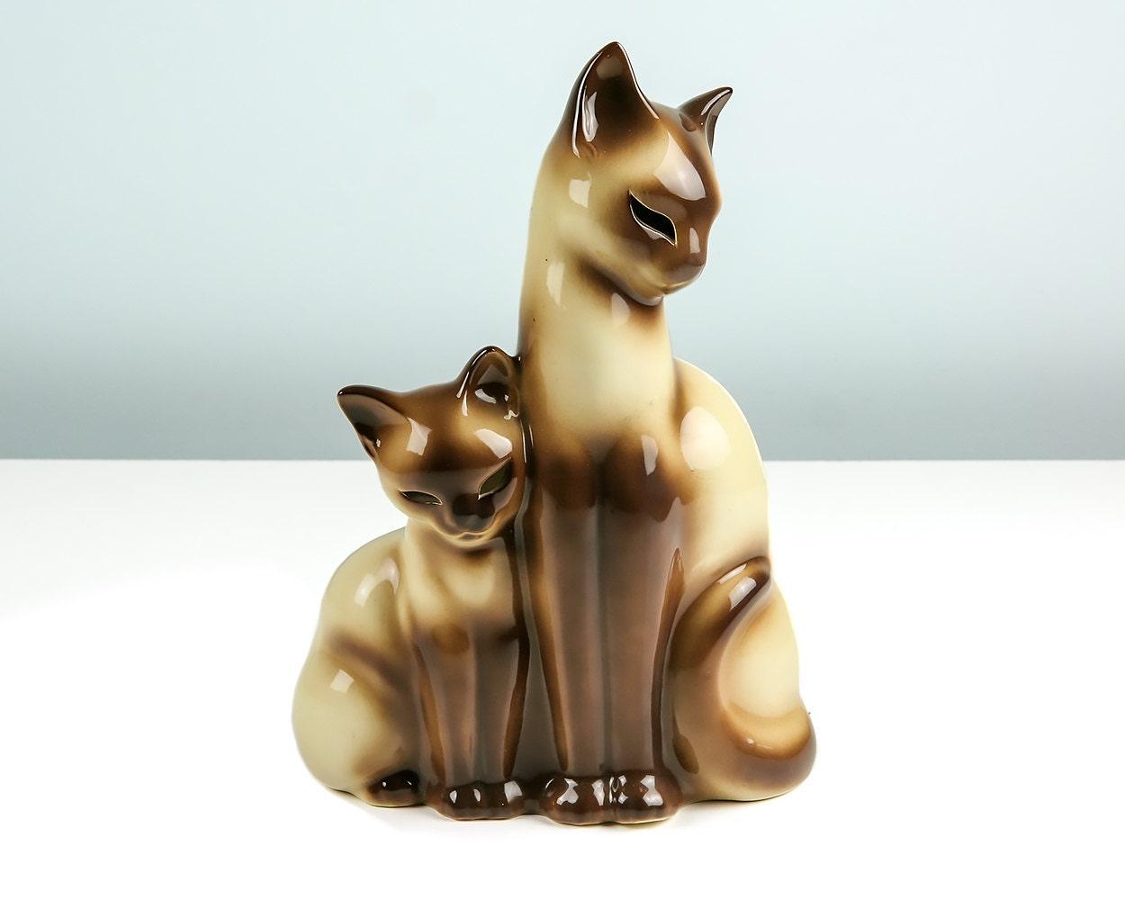 1950s Tv Lamp Siamese Cat And Kitten Vintage Mid Century