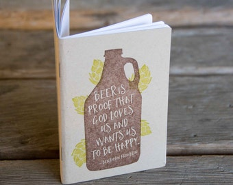 Beer Growler Notebook, hand drawn and staple bound, letterpress printed eco friendly, blank journal, blank page journal, gifts under