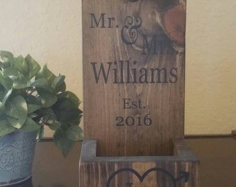 Personalized Wall Mount Bottle Opener - Cast Iron Anniversary Gift - Wood Bottle Opener