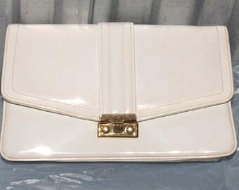 Vintage Ladies Purse Clutch White Patent Leather 1950s 1960s