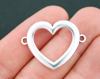 2 Large Heart Connector Charms Antique Silver Tone - SC3615