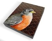 Robin Redbreast art - realistic robin painting - songbird woodland art - geometric scallop pattern - woodland songbird decor - early bird