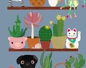 Cactus shelf with black pug-art print