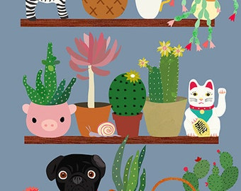 Cactus shelf with black pug-art print