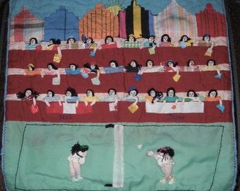 Folk Art Textile from Peru - Tennis Match - Handmade - Used