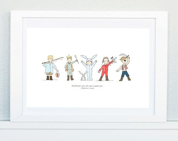 Be a Good One (boys), Nursery Art Picture, Baby's bedroom Illustration, Nursery print, New baby, Children's décor, Boy's room art