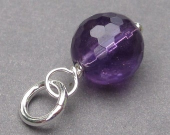 Amethyst Birthstone Charm, February Birthstone Jewelry, Bracelet Charm, Necklace Pendant, Silver Wire Wrapped Dangle Pendant, Stones 1