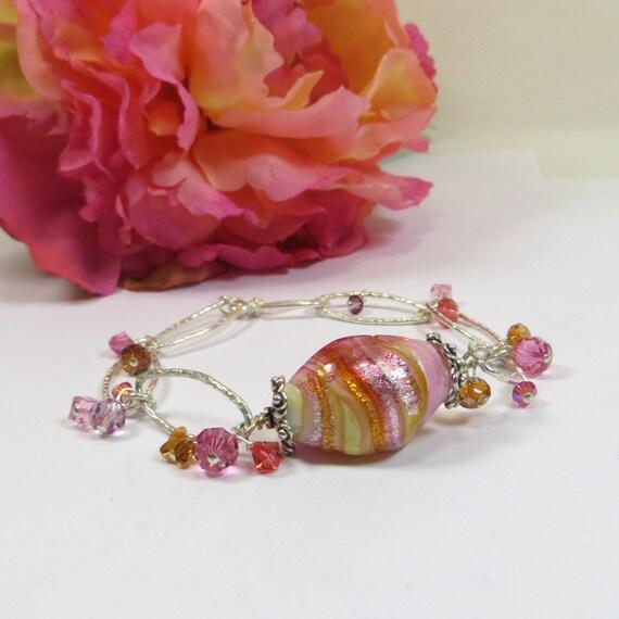 Venetian Glass Bracelet, Sterling Pink Silverfoil Murano Venetian Glass Bead Bracelet with Swarovski Crystal in Pinks Silver Jonquil