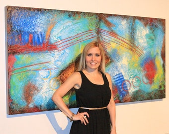 """30""""x60"""" ORIGINAL Huge Abstract Painting Textured MODERN (2 30x30 Wood Panels) Colorful Fine Art by Maria Farias"""