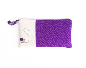 Monogram Clutch, Personalized Gift for Her, Purple Monogram Bag, Zipper Pouch, Letter S, Gift under 50 READY TO SHIP by MamaBleuDesigns
