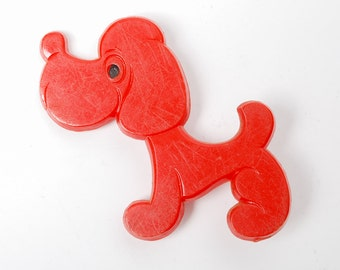 Vintage big  plastic pin, Dog.  Badge from USSR.