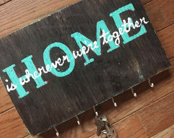 Reclaimed Wood Key Rack Home is Wherever We're Together