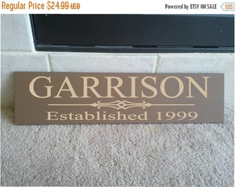 ON SALE Beautiful 6x24 wooden board sign with Personalized family last name, and established date...