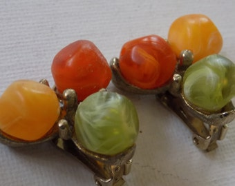 "Vintage earrings, signed Kramer 1940's ""Colors of Autumn"" clip-on earrings,retro jewelry"