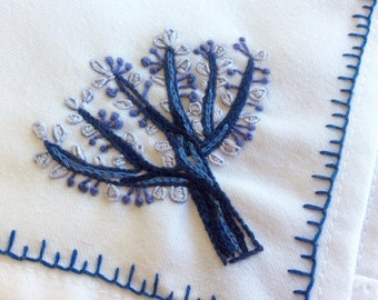 Hand embroidered napkins - Blue and White