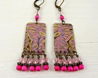 Butterfly Wing Earrings, Pink Dangle Earrings, Textured Metal Jewelry, Embossed Brass, Bohemian Fashion