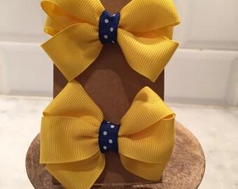 Pair of mini pinwheel bows - match SCHOOL uniform colors
