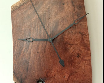 Wall Clock, Exotic Wood Clock, Amboyna Burl, Wood Clock