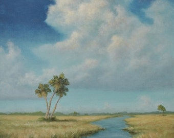 Original Tropical Landscape Painting of summer clouds, marshland and palm trees - FREE SHIPPING