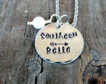 Southern Belle - Gone With The Wind - Southern Jewelry - Steel Magnolias - Hand Stamped Jewelry