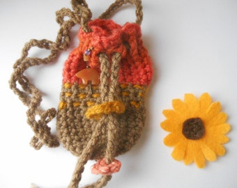 woodland pouch necklace crystal festival pouch by Peace Stitch Studio