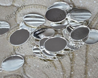 10 PCS of Fit 13x18mm Antique silver Oval Cabochon pendant tray, Oval pendant Base,jewelry findings,Flower Charms Fingdings,Pendant Base