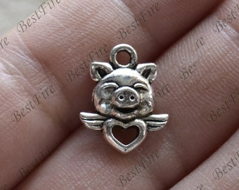 20 pcs Pig Charms Antique Silver Tone, pig Charms Fingdings pendant,jewelry pendant finding