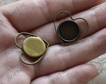 6 pcs Antique bronze heart pendant round pendant tray (Cabochon size 12 mm),bezel charm findings,lacework findings,cabochon blank finding