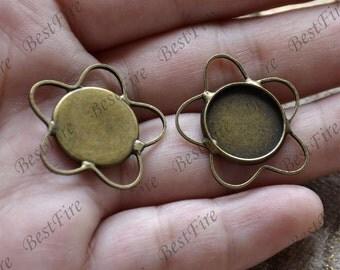 6 pcs Antique bronze flower pendant round pendant tray (Cabochon size 14 mm),bezel charm findings,lacework findings,cabochon blank finding