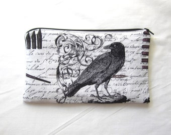 Raven Fabric Zipper Pouch / Pencil Case / Make Up Bag / Gadget Pouch