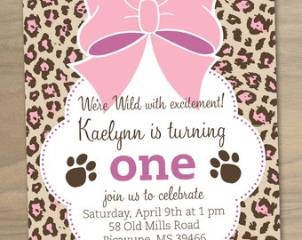 Girl Birthday Invitation Cheetah Print Pink Bow - Custom Printable Digital File