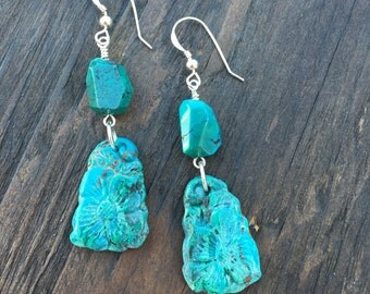Chrysocolla earrings with turquoise, carved gemstone earrings