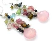 Watermelon Tourmaline and Pink Chalcedony Cluster Earrings. Beadwork Chain Earrings. Petite Chandelier Earrings. Gemstone Jewelry.