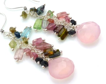 Last one. Watermelon Tourmaline and Pink Chalcedony Cluster Earrings. Beadwork Chain Earrings. Petite Chandelier Earrings.