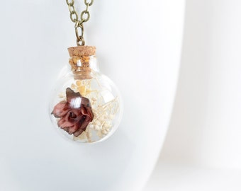 Glass Rose Necklace, Terrarium Necklace, Real Flower Pendant, Dried Rose and Baby's Breath