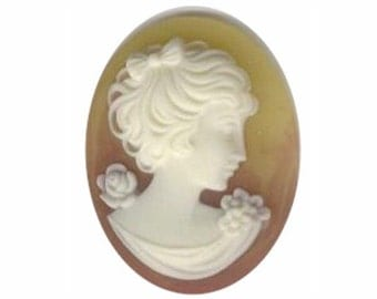 40x30mm Amber Woman with Short Hair Resin Cameo 253q cabochon resin cameo victorian style