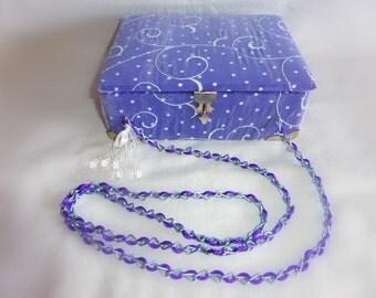 Purple Polka Dot Cigar Box Purse Handbag w/ Sheer Overlay