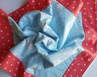 Blue and pink butterfly baby blanket, fleece play mat, fleece baby blanket
