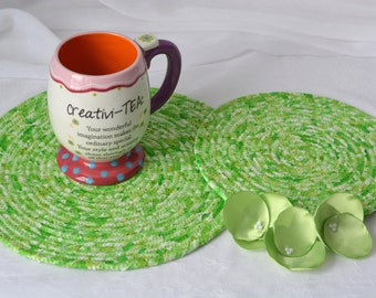 Kelly Green Trivets,  Handmade Irish Table Rugs, St. Patrick's Day Hot Pads, 2 Meadow Green Trivets, St. Patrick's Day Decoration