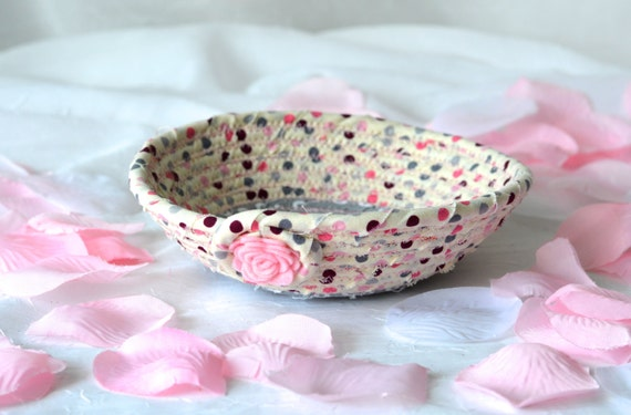 Pink Desk Accessory Bowl, Handmade Paperclip Holder, Bachelorette Party Favor Gift, Grey and Pink Makeup Brush Basket, Ring Holder Tray