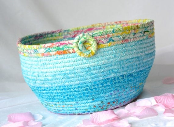 Turquoise Gift Basket, Handmade Decorative Basket, Caribbean Batik Bowl, Ocean Blue Napkin Holder, Tropical Punch Picnic Basket