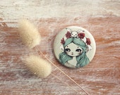 Alice in Wonderland with bunny - pin - made to order