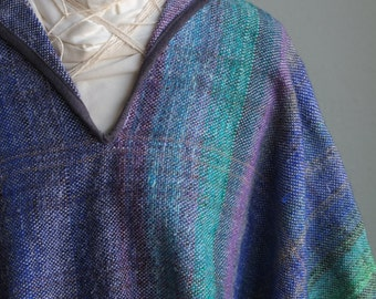 Noro Handwoven Crop Kimono - Wearable Art Bolero - Undulating Sea Waves