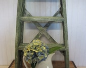 Chippy Green Painted Wood Folding 2 Step Stool Ladder Farmhouse Shabby Cottage Decor