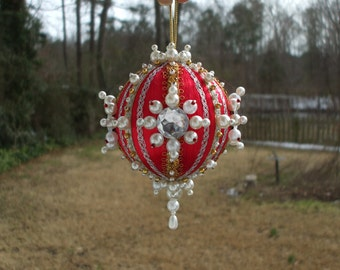 Large 3 Inch Handmade Christmas Ornament Red Satin Ball Pearls Gold Beads Clear Gems Jewels Gold Silver Trim Ornate Victorian Vintage Parts