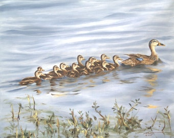 Ducks 11 x 17 print (image 10.5 x 12.75) personally signed by artist RUSTY RUST / D-92-P