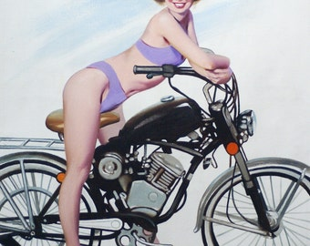Pinup Girl motorbike 17 x 11 print (image 12.75 x 10.5) personally signed by artist RUSTY RUST / 922-P