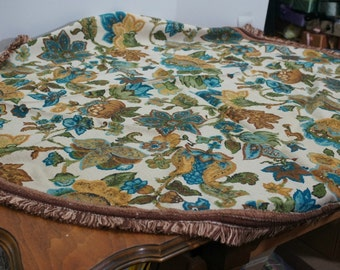 "Vintage 1960s Tablecloth Retro Turquoise and Brown Round 51"" Diameter"