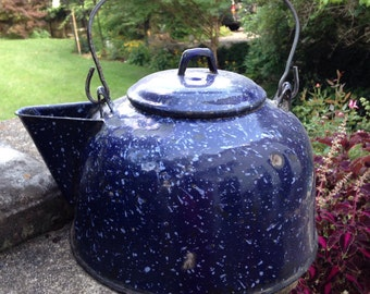Vintage blue granite ware kettle